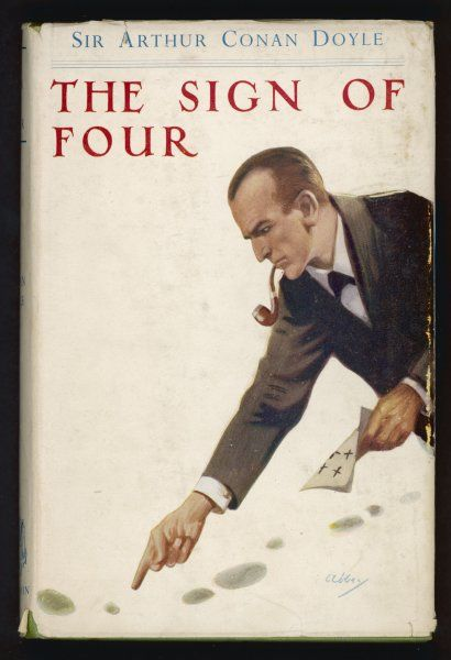 THE SIGN OF FOUR Holmes, pipe between his teeth, examines footprints