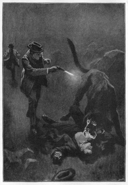 "THE HOUND OF THE BASKERVILLES Holmes shoots the sinister hound: ""Holmes emptied five barrels of his revolver into the creature's flank&quot"