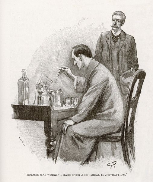 THE NAVAL TREATY Holmes busy with his chemistry apparatus at Baker St., watched by Dr. Watson
