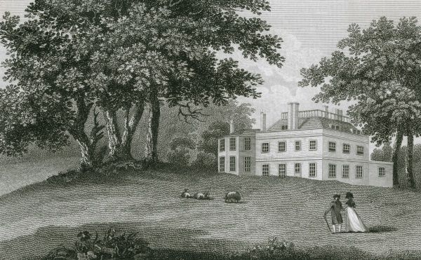 A lady and gentleman stroll in the grounds of Holwood House, Kent - - perhaps the man is William Pitt, whose residence this is. Date: 1787