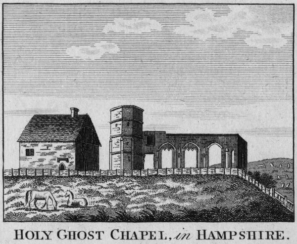 The remains of Holy Ghost Chapel, Hampshire Date: circa 1770
