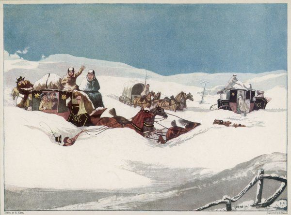 The Holyhead and Chester Mails find themselves in heavy snow at Hockley Hill, near Dunstable in Bedfordshire