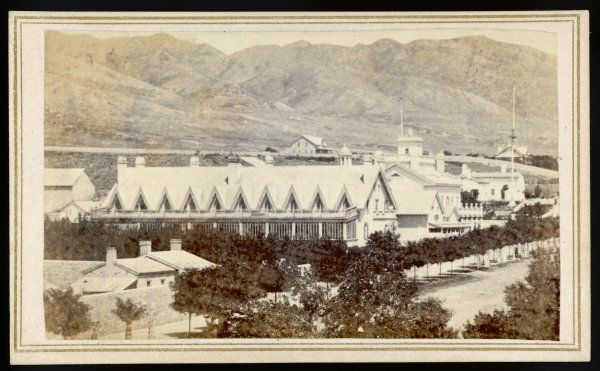 BRIGHAM YOUNG Home of the Mormon leader in Great Salt Lake City, photographed in June 1866