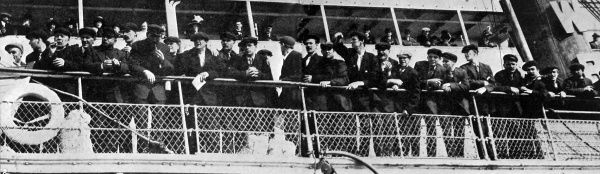 The home coming of the 210 members of the Titanic's crew aboard the Sir Richard Grenville, awaiting their landing at Plymouth