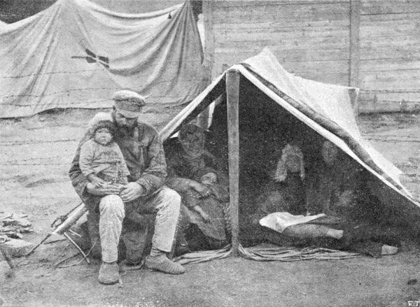 A homeless family in a makeshift tent in the Volga region