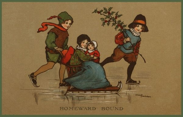 Homeward Bound -- three children make their way home across the ice. Two boys are skating, while a little girl sits on a sled, cradling her doll. One of the boys is carrying a large holly branch