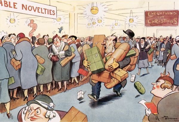 A humorous illustration showing a stressed husband carrying all of his wife's Christmas shopping