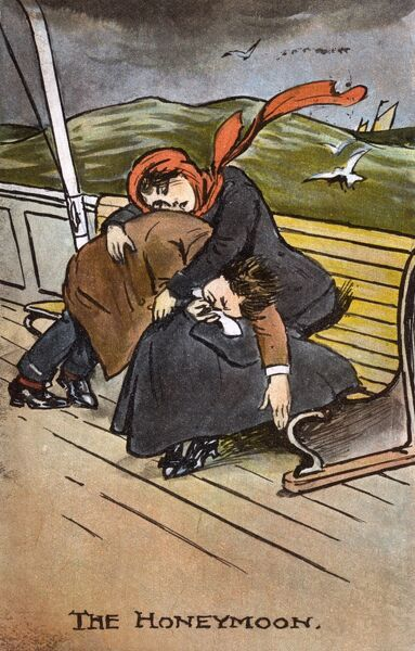 'The Honeymoon'. A seasick Couple, regretting opting for a cruise to Norway rather than a pleasant two weeks in Bangor. Date: circa 1910s