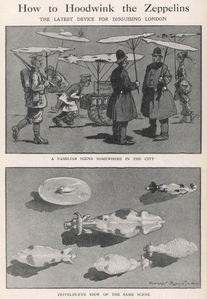 The latest device for disguising London from roving Zeppelins during World War One - ingenious umbrellas in the shape of various animals