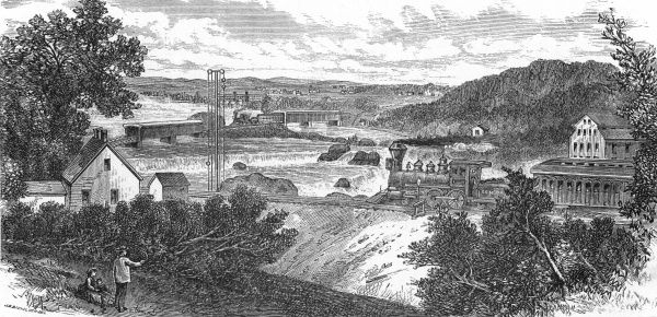 The railway bridge at Hooksett, New Hampshire : the Suncook Valley Rail Road and the Concord Rail Road. Date: 1874