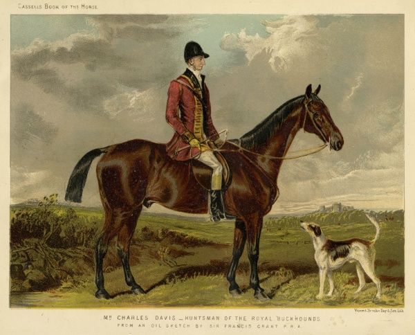 Charles Davis, Huntsman of the Royal Buckhounds, seated on his horse. Date: 19th century