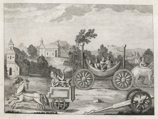 Horse-drawn carriages of the Saxon period