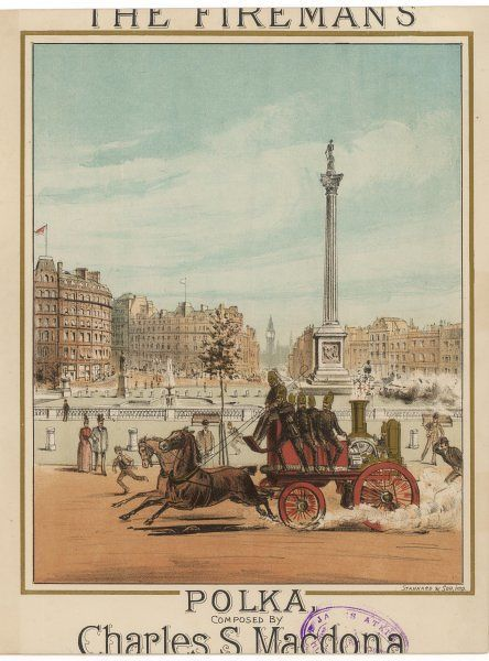 A horse drawn fire engine races past Trafalgar Square, Central London