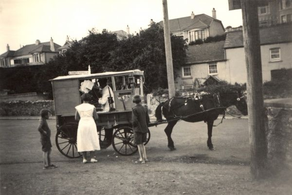 A horse-drawn hot fish and chips wagon in Cornwall, close to St Austell