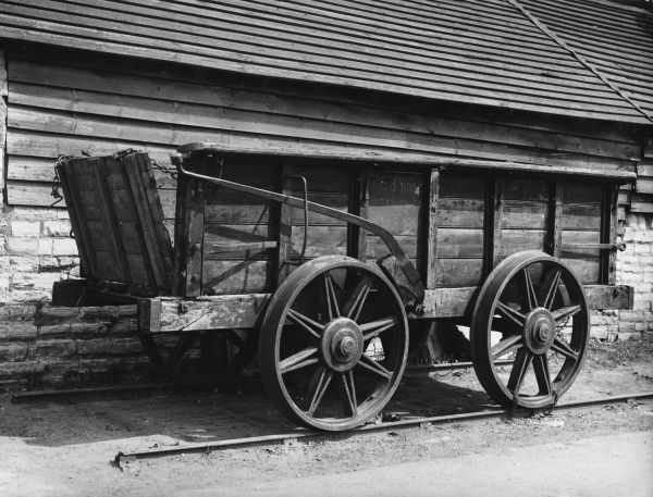 An old wooden horse-drawn tram wagon, one of many built in 1826 and used on the Stratford to Moreton-in-the-Marsh Railway, which was in use until 1859, carrying coal etc