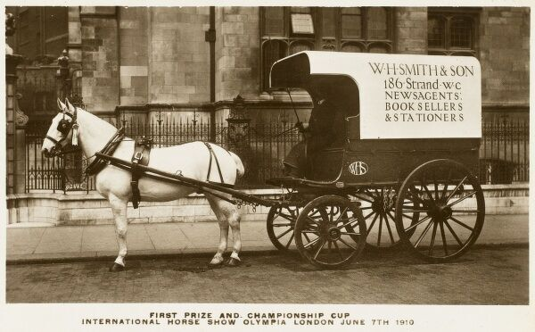 The winner of the First Prize and Championship Cup at the International Horse Show at Olympia, 1910, the very fine horse-drawn delivery van of W H Smith & Son, newsagents, booksellers and stationers