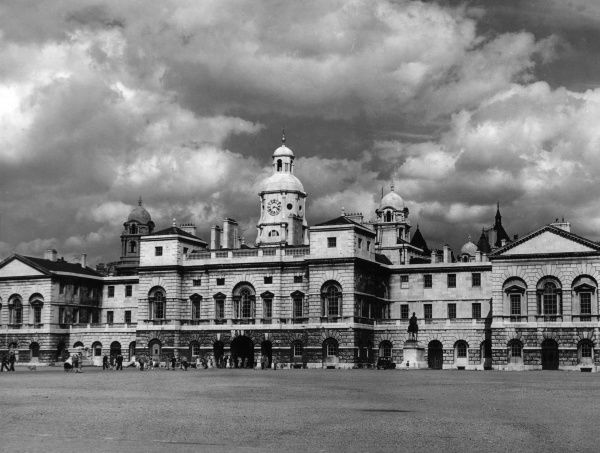 Horse Guards, a large building in the Palladian style, between Whitehall and Horse Guards Parade, London. Built by John Vardy to a design by William Kent. Date: built 1751 - 1753
