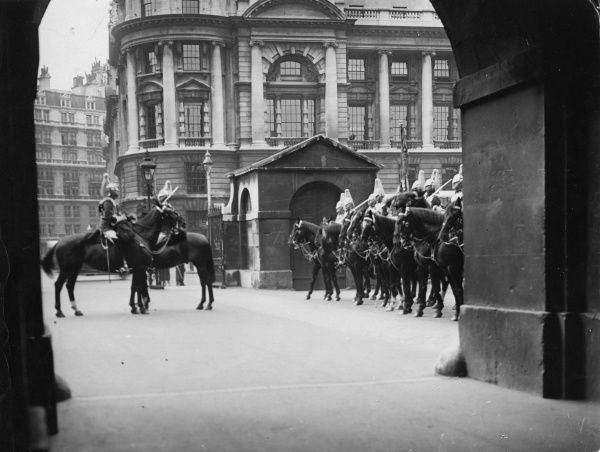 Horse Guards on parade at the aptly named Horse Guards Parade, Whitehall, central London. Date: 1930s