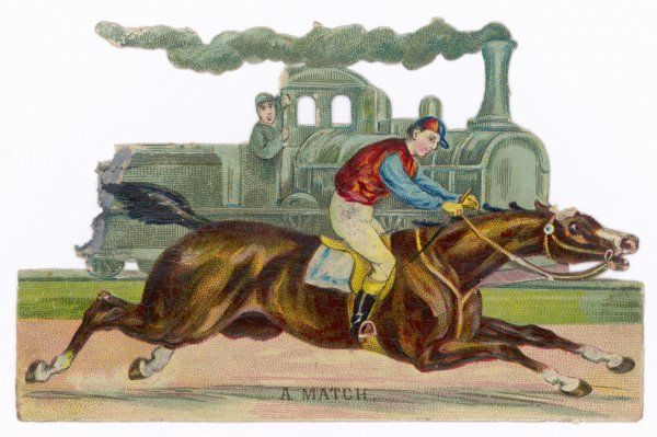 A racehorse competes with a steam engine