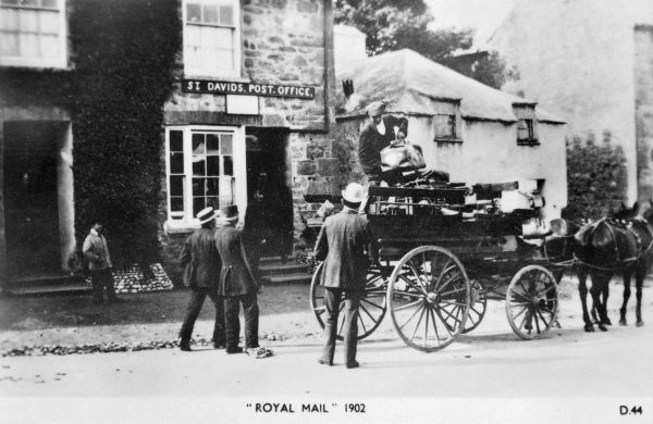 Delivery of the mail by horse to the Post Office in St Davids, Pembrokeshire, Dyfed, South Wales