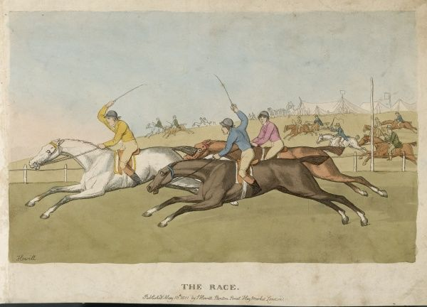 A delightful depiction of an early 19th century horse race, with spectators (also on horseback) following alongside behind the track rail
