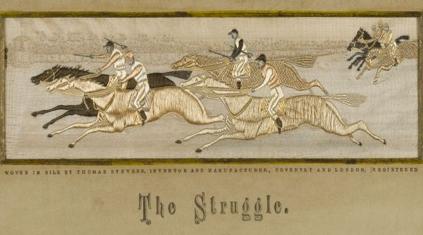 'The Struggle' A very close run race which sees two horses in a photo finish across the finishing line. Date: 19th century