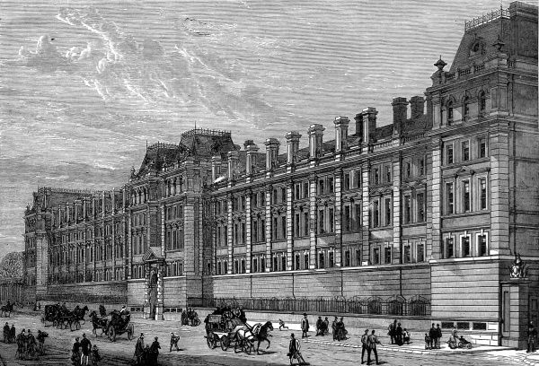 Engraving showing the exterior of the Horseguards Cavalry Barracks at Knightsbridge, which had just been completed and occupied by the Royal Horse Guards (Blue), 1880