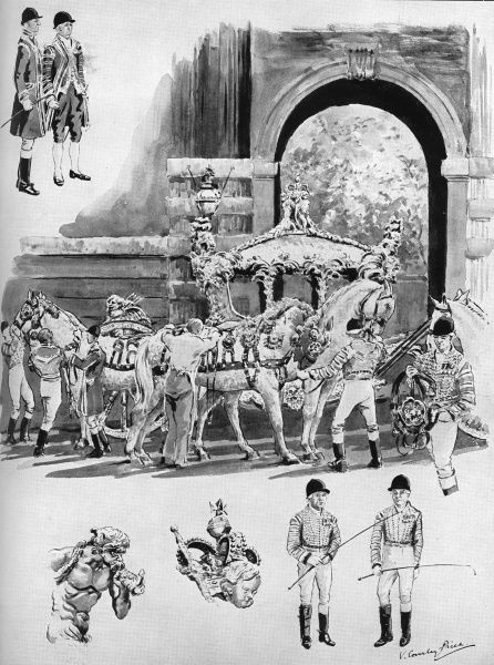 Grooms and postillions prepare horses and coach in Windsor for the Coronation journey through London. The illustration includes some of the sculptural details of the coach, including Triton blowing a conch shell. Date: 1953
