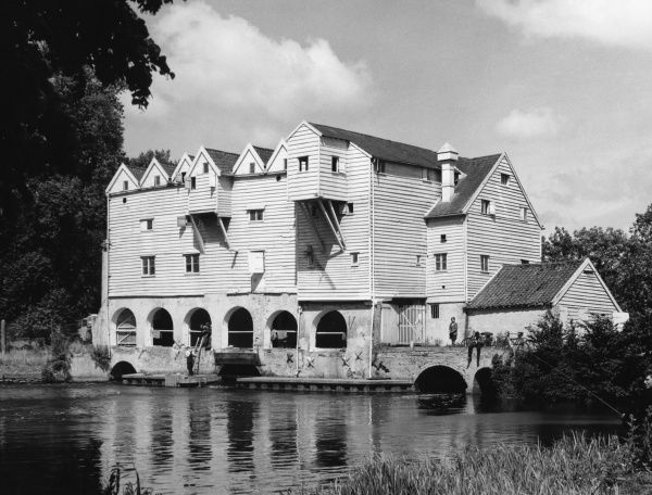 Horstead Watermill, on the River Bure, Norfolk, was one of the most beautiful weatherboarded wooden mills in England. Tragically destroyed by fire on 23 January 1963