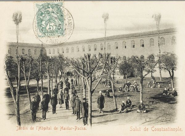The Gardens of the Hospital of Haydar Pasa with staff and some inmates - Constantinople, Turkey