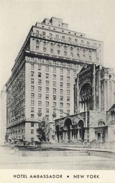 Hotel Ambassador on Park Avenue and 51st Street, New York City, America Date: C. 1910