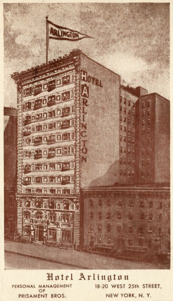 Hotel Arlington, 25th Street, New York City, America
