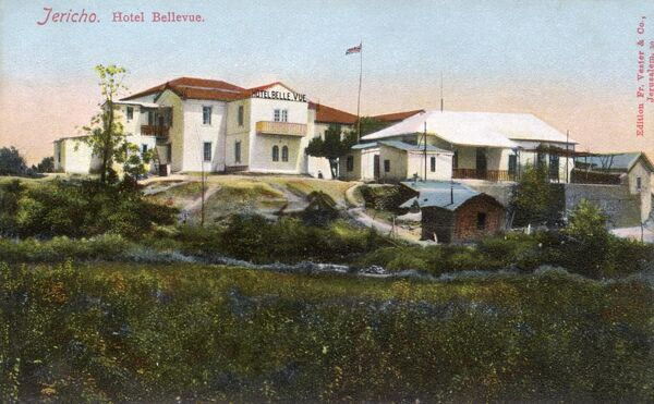 The Hotel Bellevue - Jericho, West Bank, Palestine (then under Ottoman control) - interestingly, a Union flag flies above the building - it was obviously British-owned. Date: circa 1910s