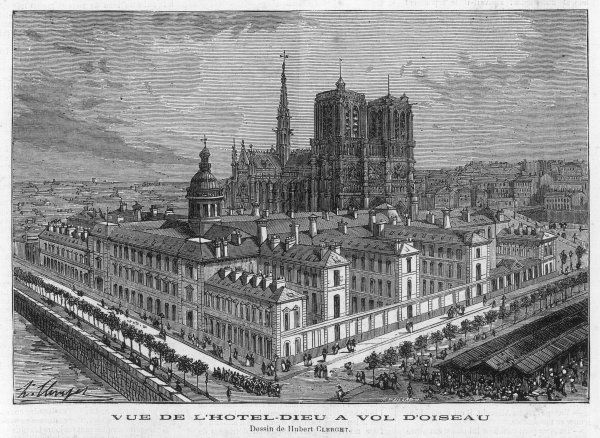 HOTEL-DIEU, PARIS Bird's eye view showing Notre-Dame beyond