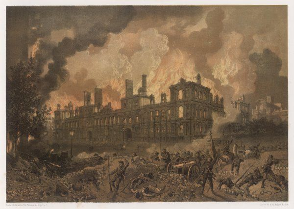 The burning of the Hotel de la Ville, Paris, destroyed by the Communards as they are forced to abandon their designated headquarters in the face of advancing government troops