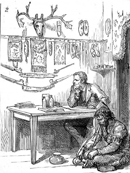 Engraving showing the scene in a hotel in a 'frontier' town, with Indian trophies, moccasins, penants, belts and a moose head on the wall. An American Indian is seen sitting on the floor, smoking a long pipe