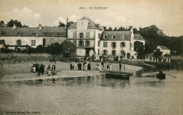 Bill for the Hotel Pouldu, Finistere, France - printed on the reverse of a postcard