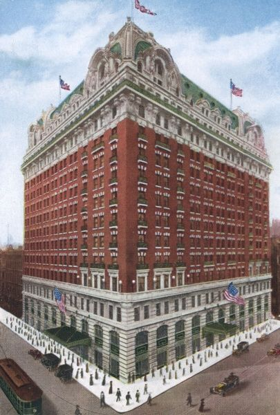 The new Hotel Sherman (on North Clark & Randolph sts, Chicago) is the fifth hotel to be built on this site. There are 750 rooms, each with its own bath ! Date: 1916
