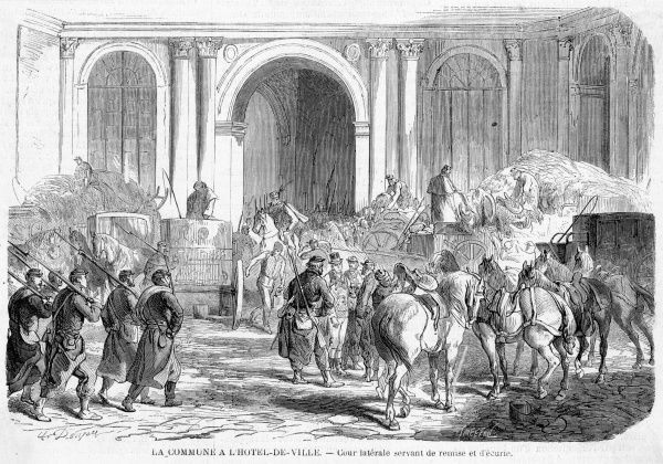 The Communards make their headquarters in the Hotel de Ville, which they will later destroy by fire. Date: March 1871