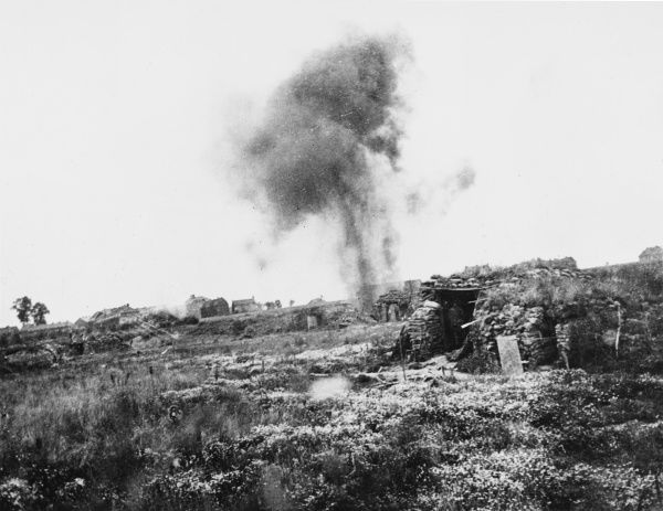 A shell bursts at Houplines, near Armentieres on the Western Front