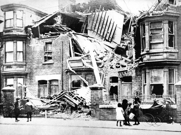 A house in Cleveland Road, Hartlepool, wrecked by shells