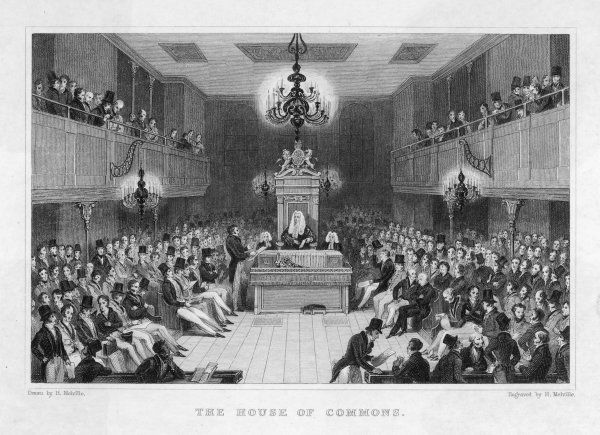 The House of Commons in session, two years before it was destroyed by fire