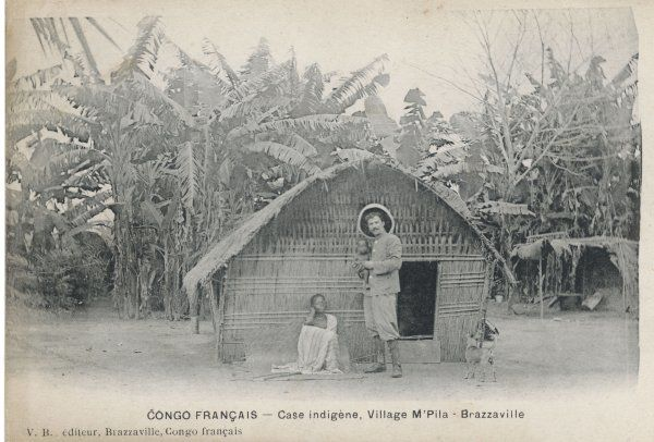 A native home in M'Pila village, Brazzaville, in the French Congo