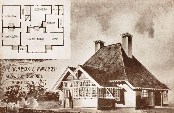 A house design by the Alnwick Foundry and Engineering Company Ltd. displayed at the Imperial International Exhibition at Shepherds Bush, London in the Machinery Hall. A very early bungalow design - the absolute cutting-edge design at the time