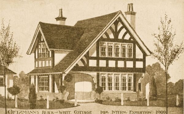 A house design by the Oetzmann & Co. Ltd. displayed at the Imperial International Exhibition at Shepherds Bush, London. A typical modern house of the period with mock-Tudor half-timbered facade