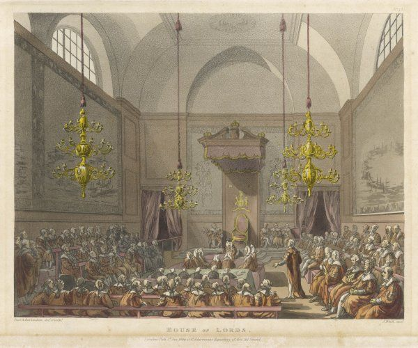 A debate in the House of Lords, previous to the destruction of the old Palace of Westminster in the fire of 1834