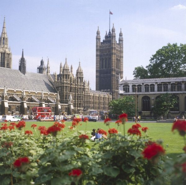 The House of Lords, Houses of Parliament, Westminster, central London. Date: 1981