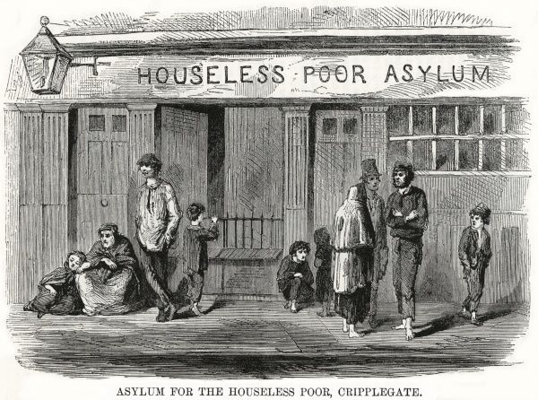 A variety of barefoot individuals standing around outside the 'asylum' or hostel on Banner Street, Cripplegate, London, operated by the Houseless Poor Society