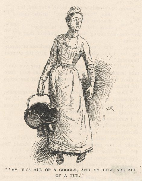 The housemaid brings up a scuttle full of coal