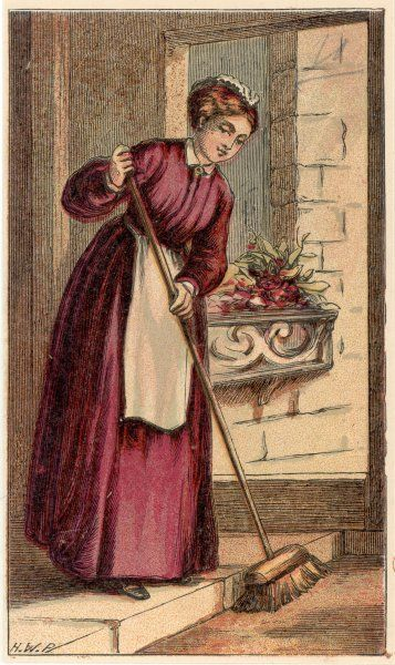 London characters: a HOUSEMAID uses her broom to sweep the front steps of the house where she is employed